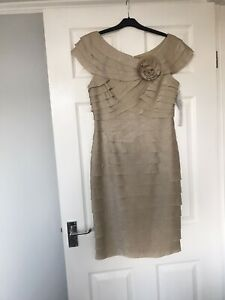 London style Womens Gold Layered Dress With Flower, Size 10/12 New Tags RRP £39