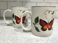 "Set Of 2 TABLETOPS UNLIMITED BUTTERFLY 3 7/8"" MUG GREEN LEAF Red & Yellow 12 OZ"