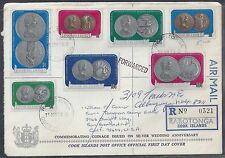 COOK ISLANDS US 1973 REGISTERED FDC TO CALIFORNIA REROUTED TO NEW MEXICO