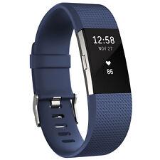 Fitbit Charge 2 Fitnessarmband Größe L Blau-Silber OLED Herzfrequenzmessung