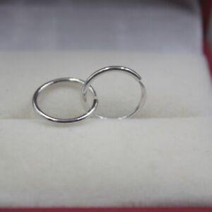 Real Platinum 950 Earrings Woman's Smooth Circle 1.1mmW Hoop Earrings / Pt950