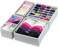 Drawer Storage Organizer Underwear Closet Divider Foldable Set Gray Beige Color