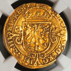1552, Netherlands, Brabant, Charles V. Gold ½ Real Coin Coin.(3.44gm!) NGC AU55!