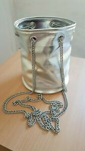 Jean Paul Gaultier small silver faux leather bucket bag chain strap