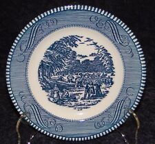 "Currier Ives Royal China Blue and White Bread Plate Harvest 6 3/8""  MINT!"