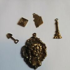 """5 """"misc. Group #22"""" cameo scrapbook jewelry charm craft metal Gold Tone New"""