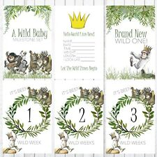 Baby Milestone Cards, 4x6 Photo Prop, 32 Cards, Where the Wild things are