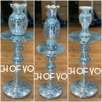 Silver VENETIAN Mirrored Table Vase Modern Flower Stand Bed Side Romany Mosaic