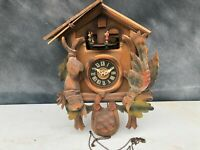 Antique German Black Forest Cuckoo Clock Hunter & Dancers Project Parts