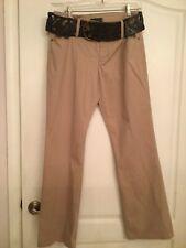 Tribal Khaki Belted Cotton Pants - Size 8