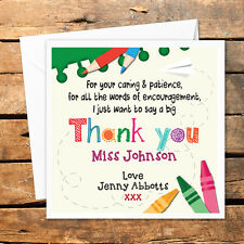 Personalised Thank You Teacher Card Nursery Nurse Male Female Big Crayons Caring