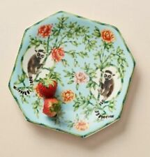 New Anthropologie Lou Rota Lemur Dessert Plate Flowers Nature Table COLLECTIBLE