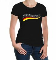 Damen Kurzarm Girlie T-Shirt Deutschland-Wave Fanshirt Germany Flagge flag