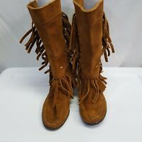 Minnetonka Moccasin  Brown Leather Boots Fringes Suede Women's Sz 6