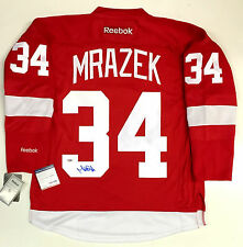 PETR MRAZEK SIGNED DETROIT RED WINGS REEBOK JERSEY  PSA/DNA ROOKIE GRAPH COA