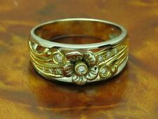 18kt 750 Bicolour Gold Ring with 0,18ct Brilliant Decorations/ Diamond/ 6,2g/ Rg