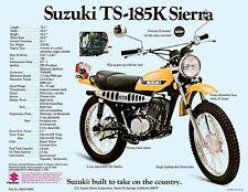1973 SUZUKI TS-185K SIERRA SALES SPECS AD/ BROCHURE