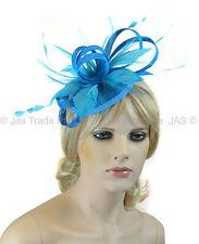 Pill Box Race Wedding Church Feather Fascinator Hatinator Headband Aqua Sky Blue