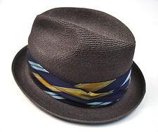 Fedora  Stevens Brown Woven Hat Gray
