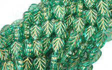 25 TEAL GOLD INLAY CZECH GLASS LEAF BEADS 10MM