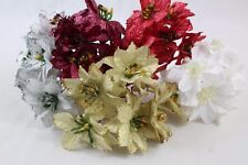 6 glitter christmas tree decorations poinsettias xmas flower 5 colours 5cm wide