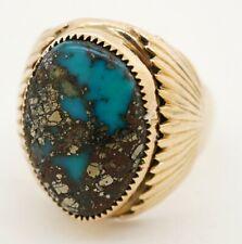 Native designer antique heavy 14K gold 18.9X13.2mm natural turquoise men's ring