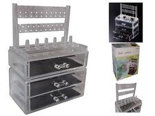 3 CASSETTI Make Up Per Appendere Gioielli cosmetici COLLANA ANELLI Display Box Organizer