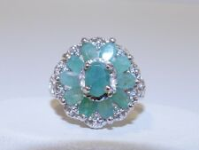 GENUINE 1.96ct! Colombian Emerald, Oval Cut Cluster Ring, Solid S/Silver 925!