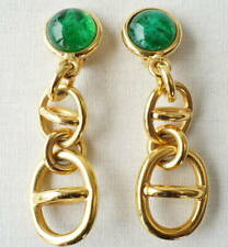 GUCCI G Logos Drop Dangle Clip-On Earrings green stone  Gold tone g438