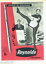 PUBLICITE ADVERTISING 125  1960  Reynolds  stylo bille ligne fonctionnelle
