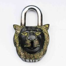 COLLECTIBLE CHINESE OLD STYLE BRONZE LION LOCK AND KEY