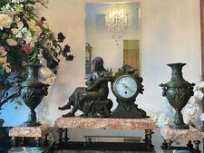 Francois Moreau's Original Antique 3-Piece Bronze Mantle Clock with Marble Base