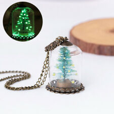 Fashion Luminous Snowflake Christmas Tree Glass Bottle Necklace Jewelry Solid