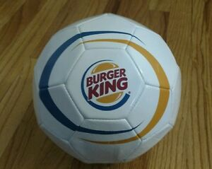 BURGER KING Soccer Ball White Vintage Logo BurgerKing Fast Food Promo Sports