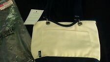 Thirty One Canvas Crew Mini Thermal Shoulder Bag Duel Handle Purse Natural Navy