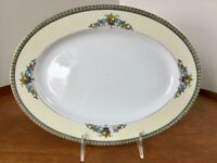 """Japan China Oval Serving Platter ~ Fruits In Urns ~ 11 3/4"""" ~ Blue Green Red"""