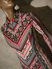 CHIC VINTAGE ROBE 1970 CHEVRON VTG DRESS 70s POLKA STRIPE KLEID 70er (36/38)
