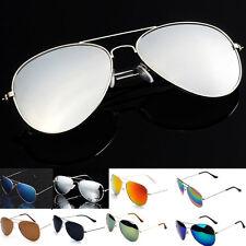 Women's Aviatores Lens Mirrored Metal Frame Glasses Oversized Eye Sunglasses New