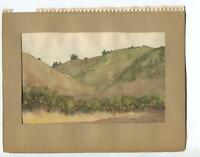 VINTAGE 1930's SAGEBRUSH MOUNTAINS JOHNSON'S PASTURE CA GEOLOGIST W/C  PAINTING