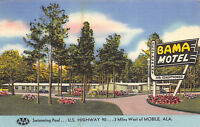 Mobile Alabama 1956 Linen Postcard Bama Motel Restaurant
