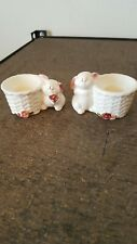 Avon Ceramic Bunny Rabbit Taper Candle Holders Set of 2 Used in box
