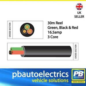 30m Black Red Green Thin Wall 16.5 amp 3 Core Auto Cable Round Black TW03/01