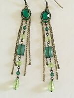 "Faux Emerald Dangle Drop Pierced Earrings Gold Tone / Green  3.5"" F"