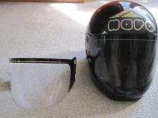 VINTAGE BLACK NAVA MADE IN ITALY FULL FACE 61/XL MOTORCYCLE HELMET & EXTRA SHLD