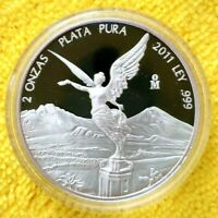 2011 2 oz Silver Libertad 2 Onzas Plata Pura PROOF Coin in Capsule ONLY 1000 pcs
