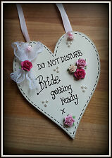 Handmade Wooden Heart Door Hanger 'Do not disturb Bride getting ready' Sign