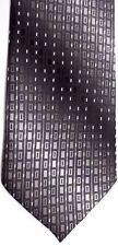 "Villini Men's Silk Tie 57.5"" X 4"" Gray/Silver Geometric/Shaded Striped"