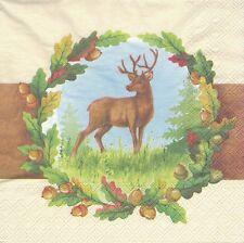 2 Serviettes en papier Cerf Feuille de chêne - Paper napkins Deer