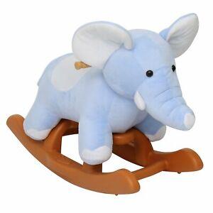 Rocker Plush Kids Animal Rocking Horse Elephant Theme Ride on Toy Riding Rocker