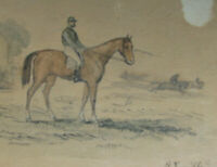 1850s JOCKEY & HORSE RACE w/c painting/ink GUSTAV SUNDBLAD German (1835-1891)